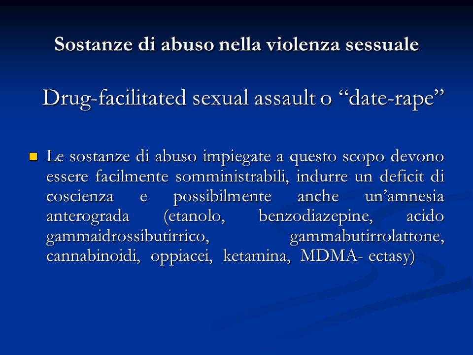 """Sostanze di abuso nella violenza sessuale Drug-facilitated sexual assault o """"date-rape"""" Drug-facilitated sexual assault o """"date-rape"""" Le sostanze di a"""