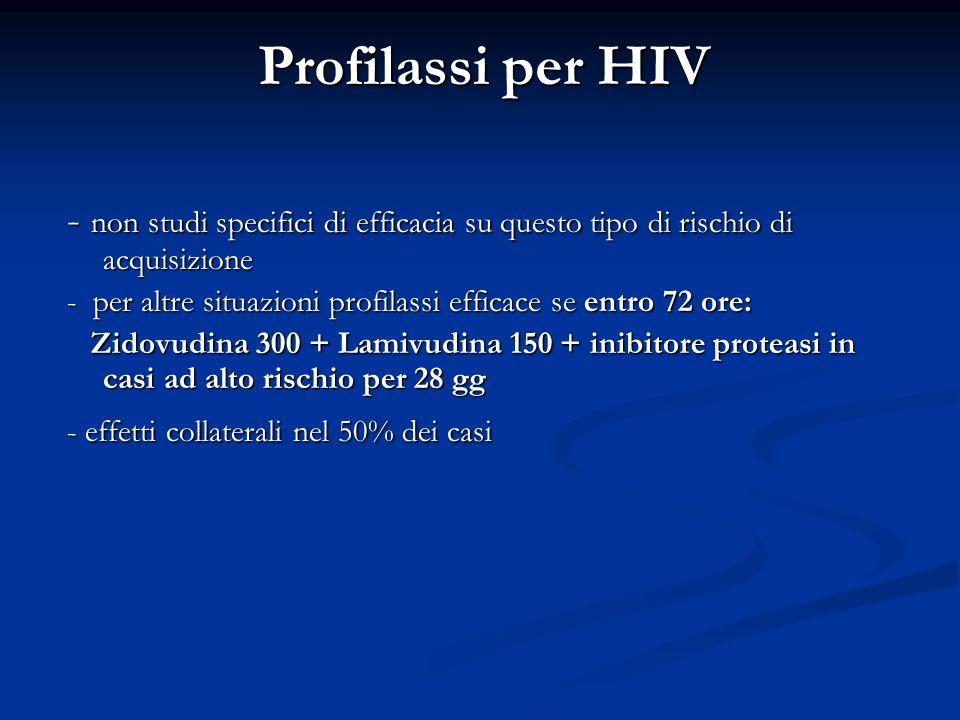 Profilassi per HIV - non studi specifici di efficacia su questo tipo di rischio di acquisizione - per altre situazioni profilassi efficace se entro 72