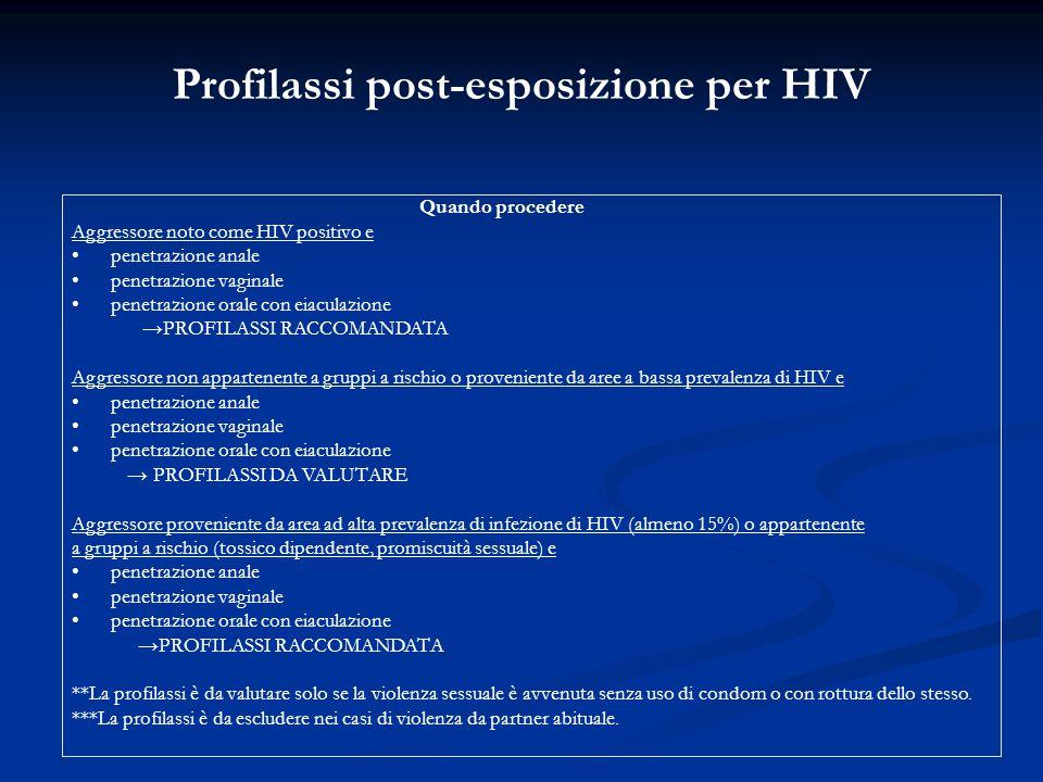 Profilassi post-esposizione per HIV Quando procedere Aggressore noto come HIV positivo e penetrazione anale penetrazione vaginale penetrazione orale c