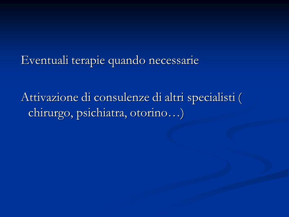 Eventuali terapie quando necessarie Eventuali terapie quando necessarie Attivazione di consulenze di altri specialisti ( chirurgo, psichiatra, otorino