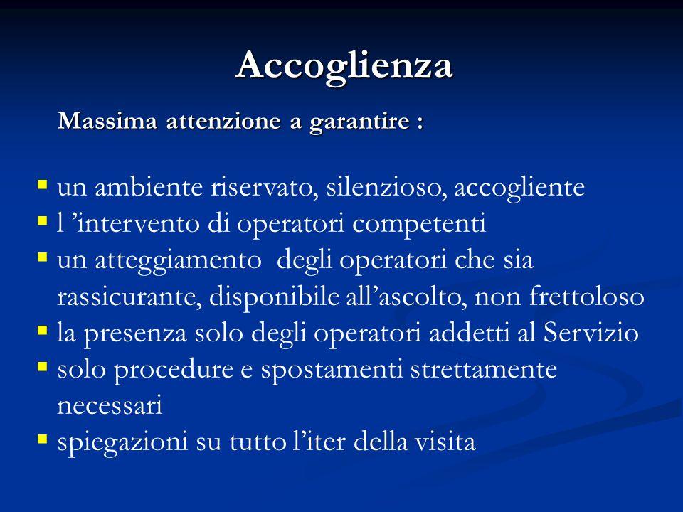 Accoglienza Massima attenzione a garantire : Massima attenzione a garantire :  un ambiente riservato, silenzioso, accogliente  l 'intervento di oper