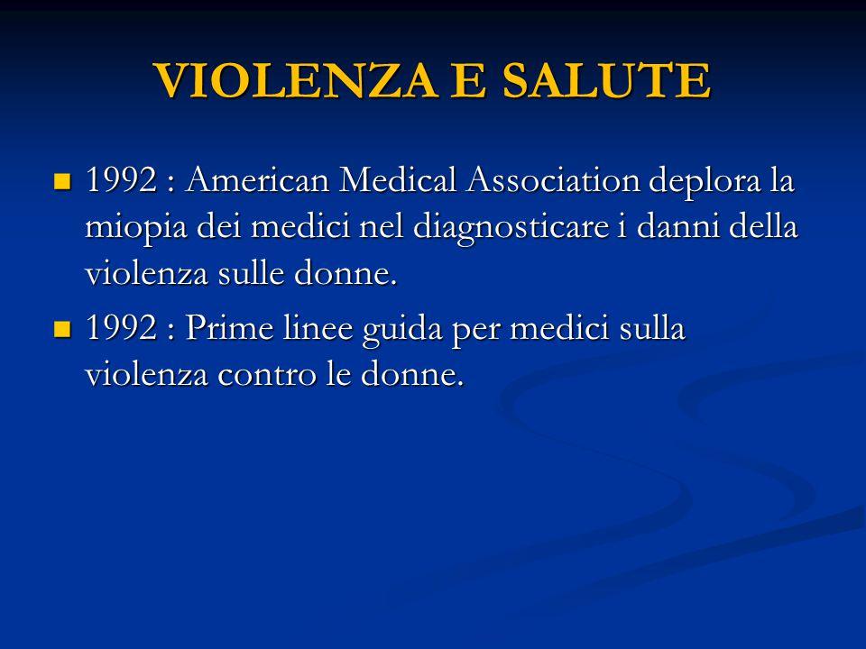 VIOLENZA E SALUTE 1992 : American Medical Association deplora la miopia dei medici nel diagnosticare i danni della violenza sulle donne. 1992 : Americ