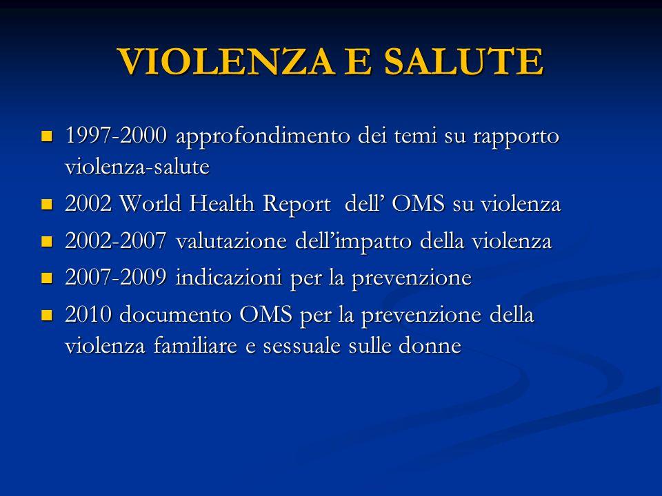 VIOLENZA E SALUTE 1997-2000 approfondimento dei temi su rapporto violenza-salute 1997-2000 approfondimento dei temi su rapporto violenza-salute 2002 W