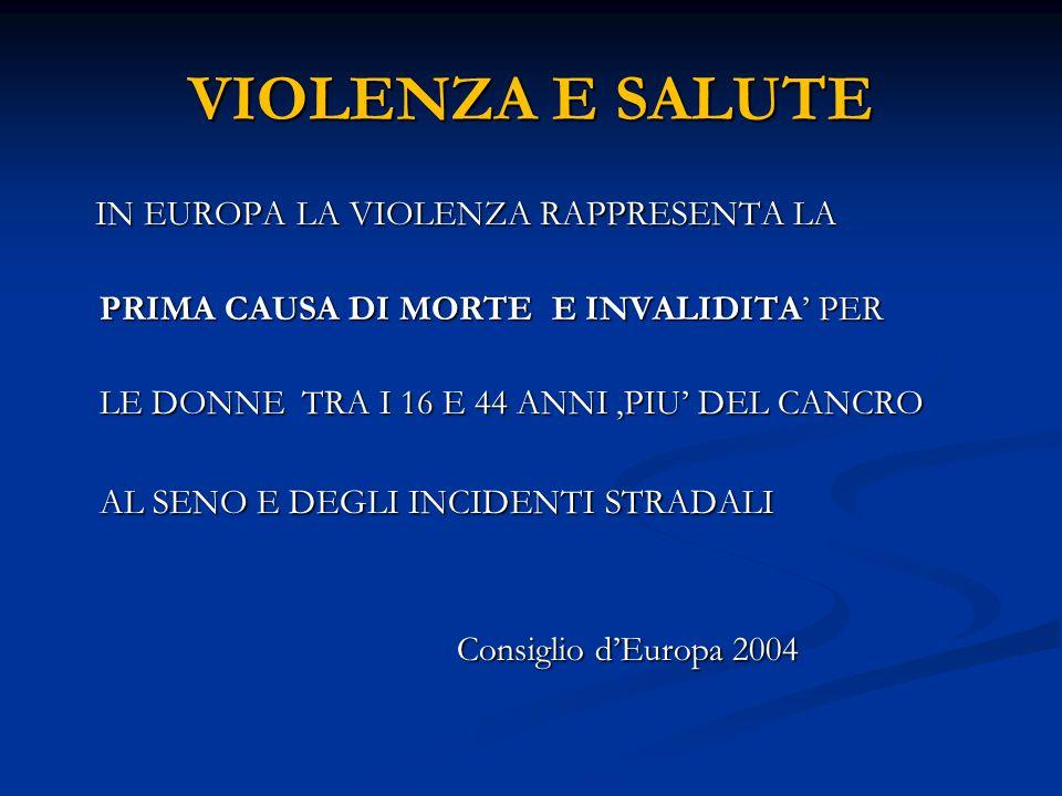 VIOLENZA E SALUTE IN EUROPA LA VIOLENZA RAPPRESENTA LA IN EUROPA LA VIOLENZA RAPPRESENTA LA PRIMA CAUSA DI MORTE E INVALIDITA' PER PRIMA CAUSA DI MORT