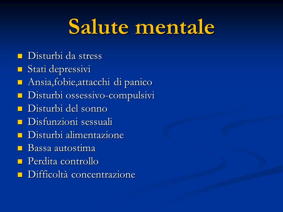Salute mentale Disturbi da stress Disturbi da stress Stati depressivi Stati depressivi Ansia,fobie,attacchi di panico Ansia,fobie,attacchi di panico D