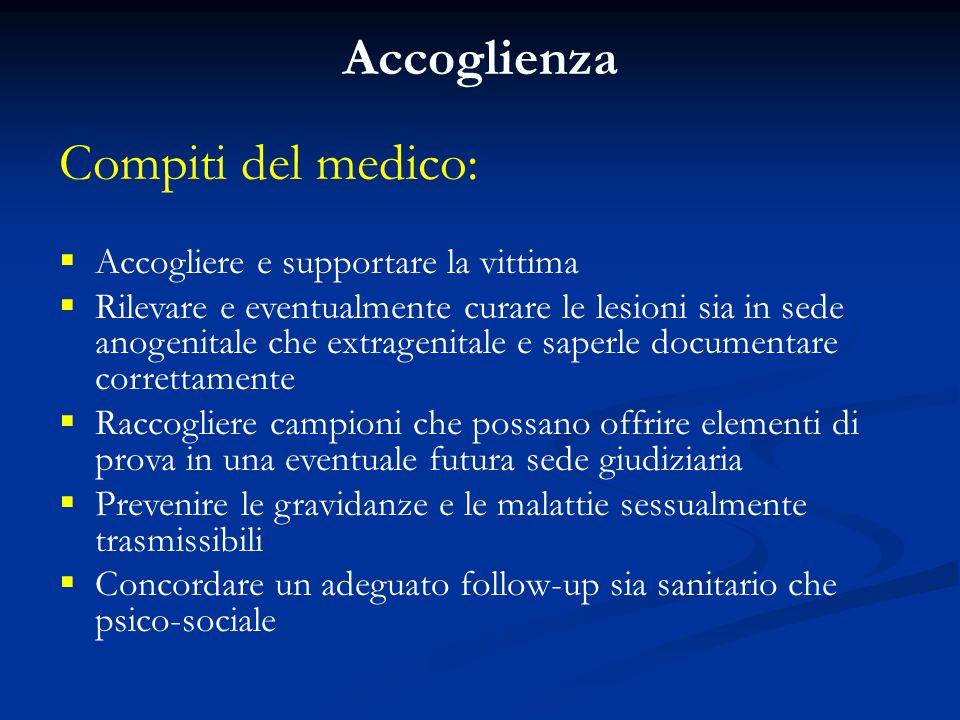 Accoglienza Compiti del medico:  Accogliere e supportare la vittima  Rilevare e eventualmente curare le lesioni sia in sede anogenitale che extragen
