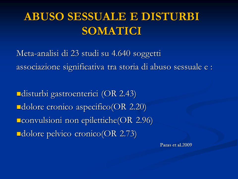 ABUSO SESSUALE E DISTURBI SOMATICI Meta-analisi di 23 studi su 4.640 soggetti associazione significativa tra storia di abuso sessuale e : disturbi gas