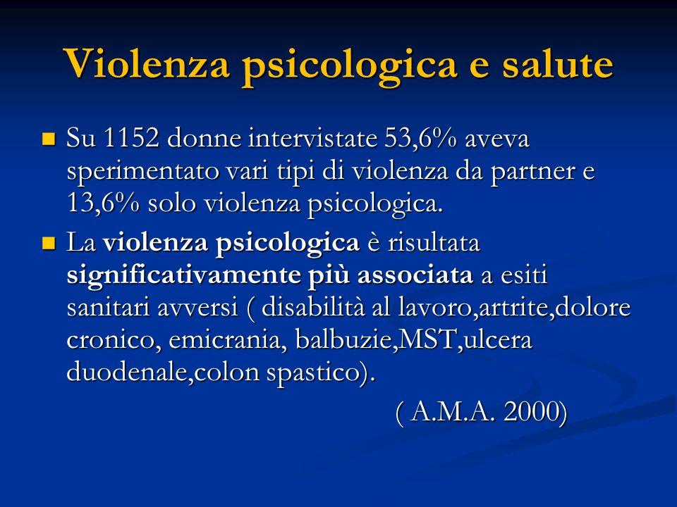 Violenza psicologica e salute Su 1152 donne intervistate 53,6% aveva sperimentato vari tipi di violenza da partner e 13,6% solo violenza psicologica.