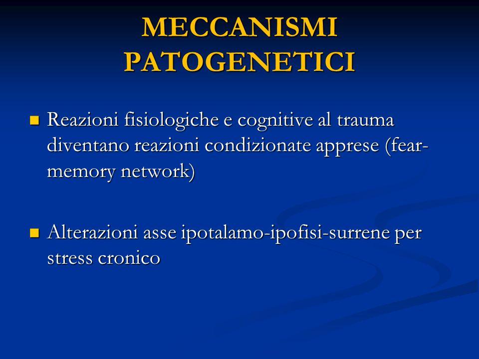 MECCANISMI PATOGENETICI Reazioni fisiologiche e cognitive al trauma diventano reazioni condizionate apprese (fear- memory network) Reazioni fisiologic