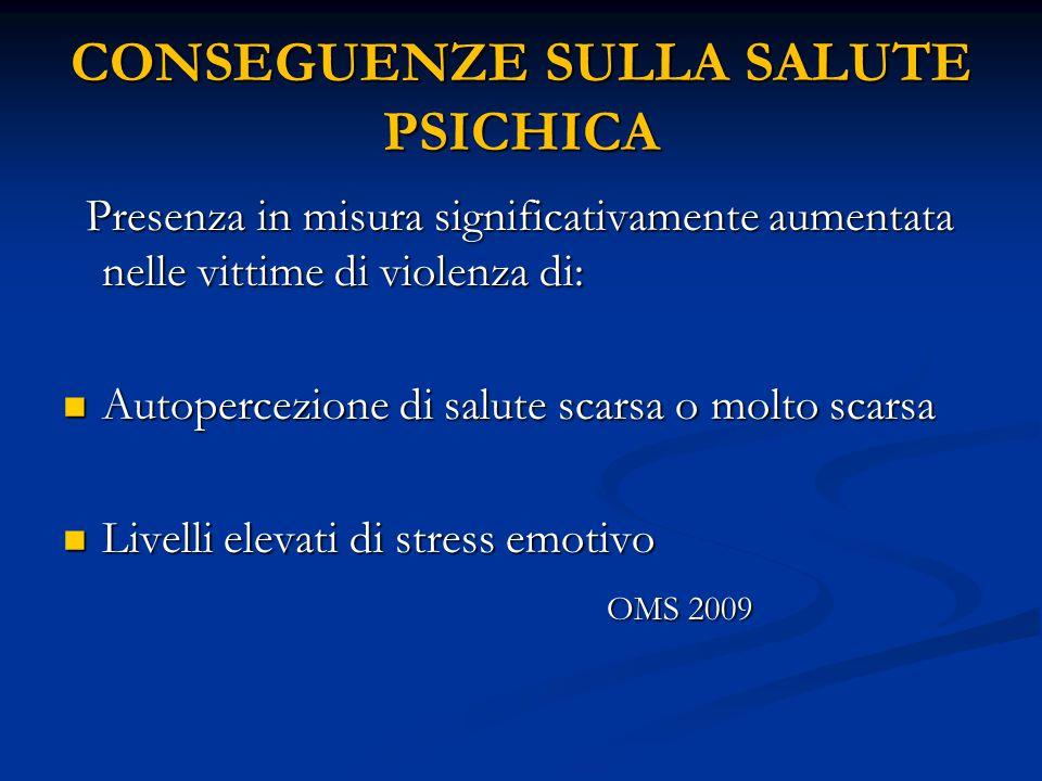 CONSEGUENZE SULLA SALUTE PSICHICA Presenza in misura significativamente aumentata nelle vittime di violenza di: Presenza in misura significativamente