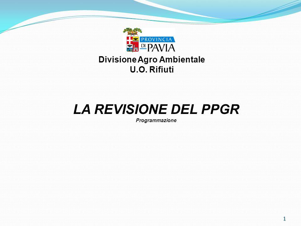 1 LA REVISIONE DEL PPGR Programmazione Divisione Agro Ambientale U.O. Rifiuti