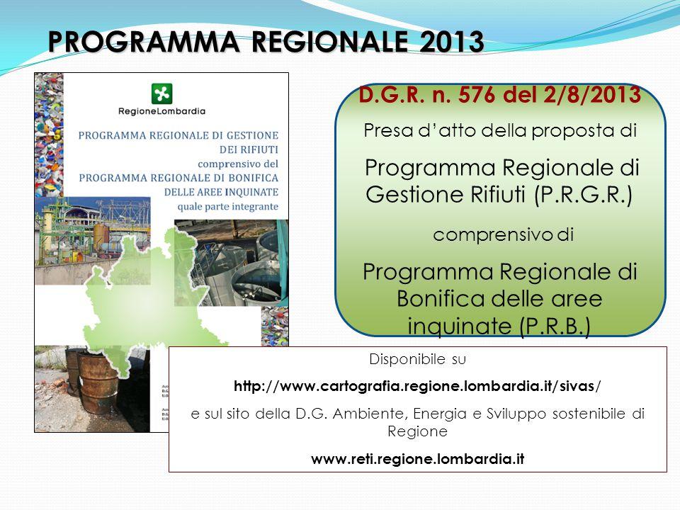 PROGRAMMA REGIONALE 2013 D.G.R. n.