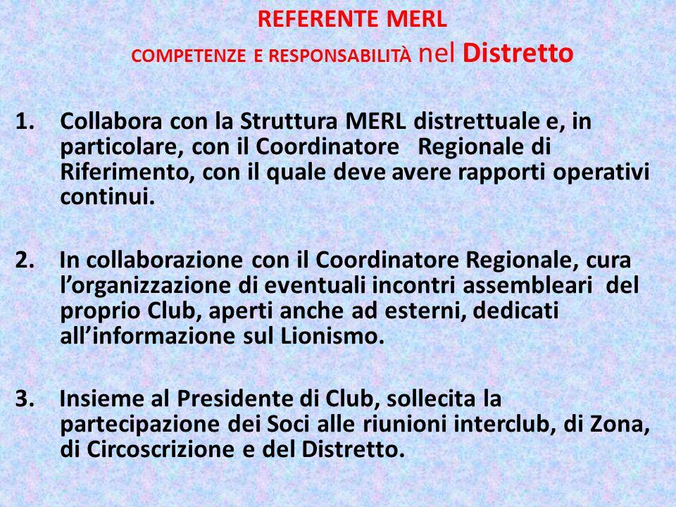 REFERENTE MERL COMPETENZE E RESPONSABILITÀ nel Distretto 1.Collabora con la Struttura MERL distrettuale e, in particolare, con il Coordinatore Regionale di Riferimento, con il quale deve avere rapporti operativi continui.