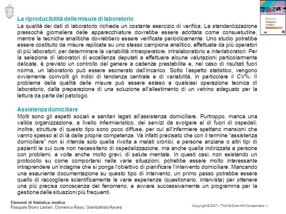 Elementi di Statistica medica Pasquale Bruno Lantieri, Domenico Risso, Giambattista Ravera Copyright © 2007 – The McGraw-Hill Companies s.r.l. La ripr