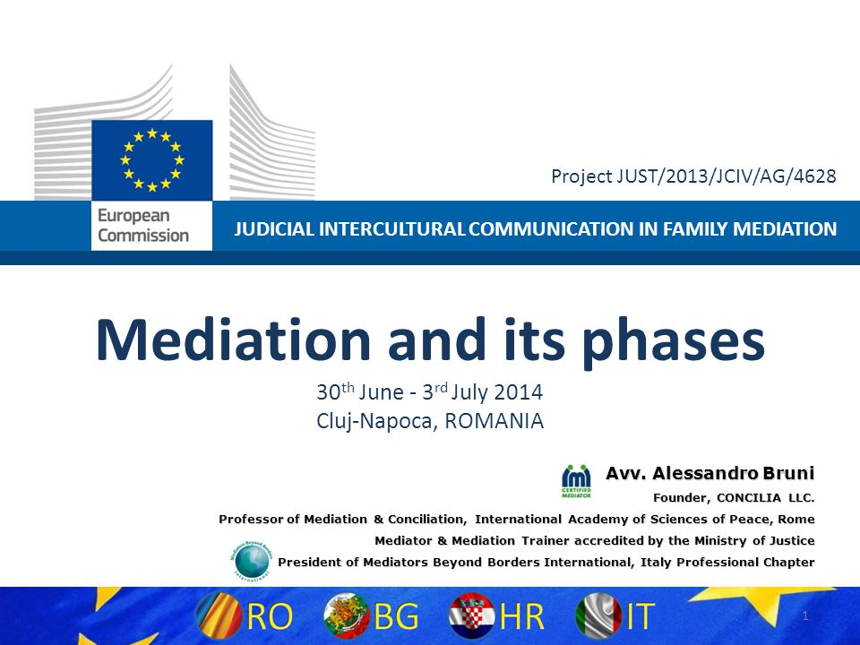 JUDICIAL INTERCULTURAL COMMUNICATION IN FAMILY MEDIATION Project JUST/2013/JCIV/AG/4628 Mediation and its phases 30 th June - 3 rd July 2014 Cluj-Napo