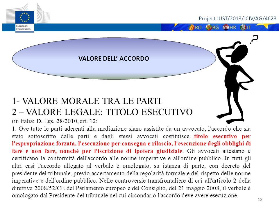 Project JUST/2013/JCIV/AG/4628 18 VALORE DELL' ACCORDO 1- VALORE MORALE TRA LE PARTI 2 – VALORE LEGALE: TITOLO ESECUTIVO (in Italia: D.