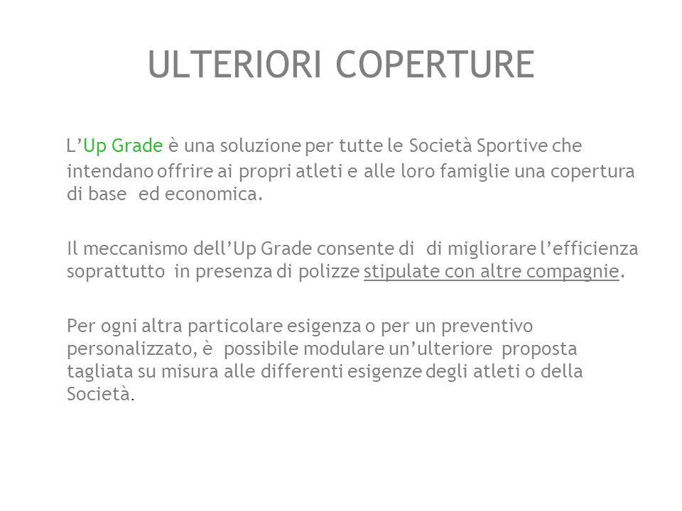ULTERIORI COPERTURE L'Up Grade è una soluzione per tutte le Società Sportive che intendano offrire ai propri atleti e alle loro famiglie una copertura di base ed economica.