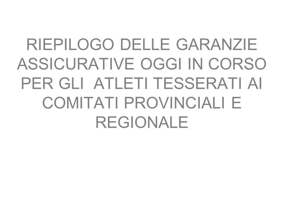 RIEPILOGO DELLE GARANZIE ASSICURATIVE OGGI IN CORSO PER GLI ATLETI TESSERATI AI COMITATI PROVINCIALI E REGIONALE