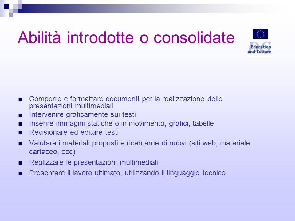 Abilità introdotte o consolidate Comporre e formattare documenti per la realizzazione delle presentazioni multimediali Intervenire graficamente sui te