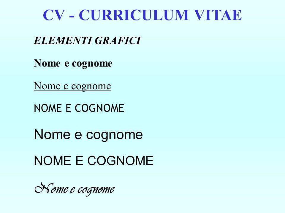 CV - CURRICULUM VITAE ELEMENTI GRAFICI Nome e cognome NOME E COGNOME Nome e cognome NOME E COGNOME Nome e cognome