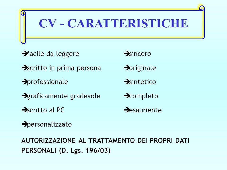 CV - CARATTERISTICHE è facile da leggere è scritto in prima persona è professionale è graficamente gradevole è scritto al PC è personalizzato è sincero è originale è sintetico è completo è esauriente AUTORIZZAZIONE AL TRATTAMENTO DEI PROPRI DATI PERSONALI (D.