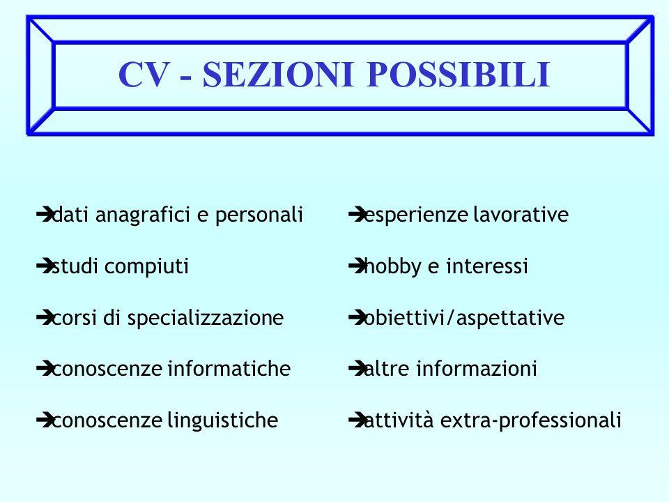 CV - SEZIONI POSSIBILI è dati anagrafici e personali è studi compiuti è corsi di specializzazione è conoscenze informatiche è conoscenze linguistiche