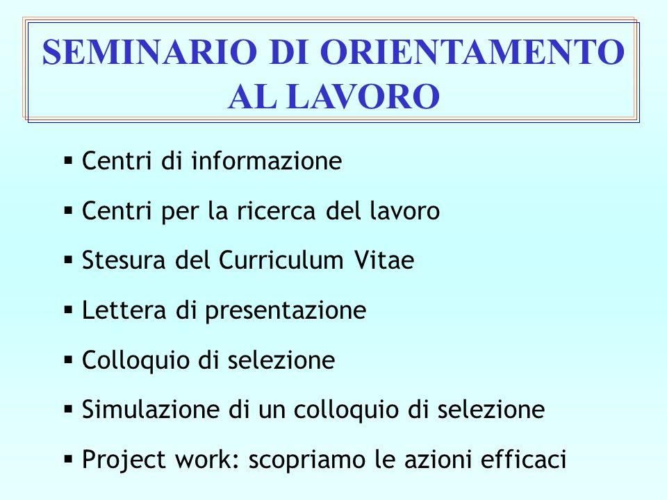  Centri di informazione  Centri per la ricerca del lavoro  Stesura del Curriculum Vitae  Lettera di presentazione  Colloquio di selezione  Simul