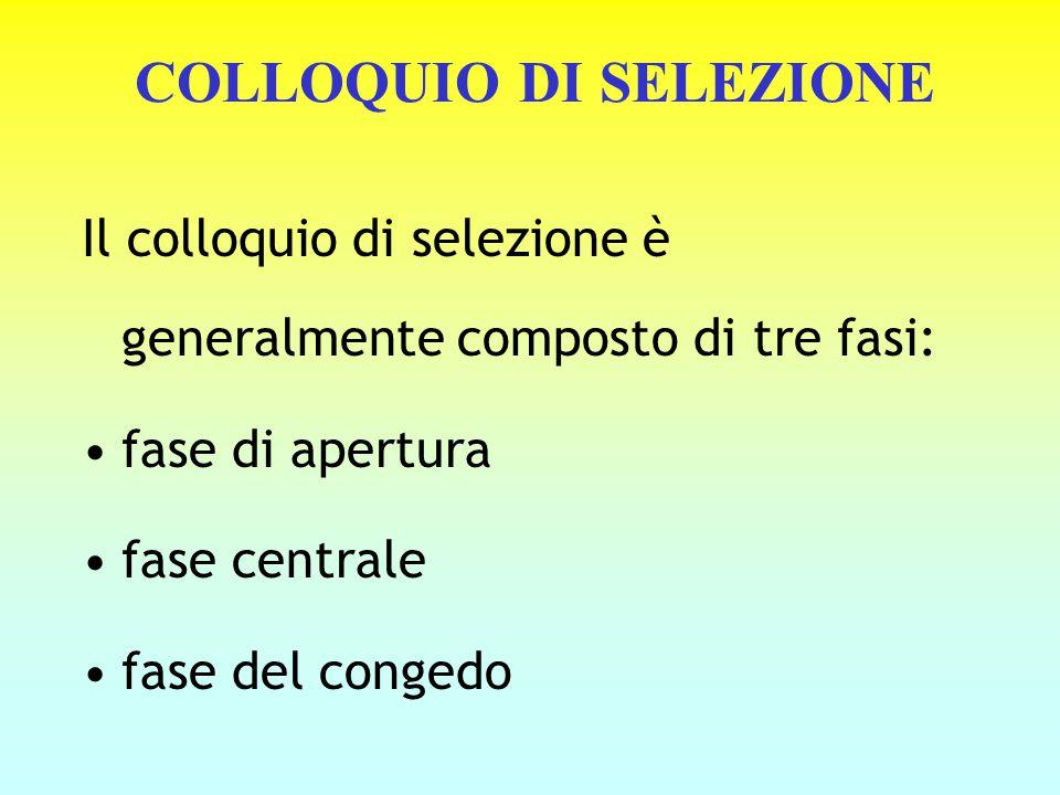 COLLOQUIO DI SELEZIONE Il colloquio di selezione è generalmente composto di tre fasi: fase di apertura fase centrale fase del congedo