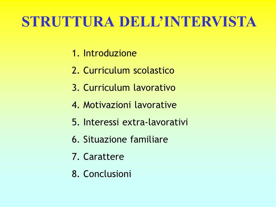 STRUTTURA DELL'INTERVISTA 1. Introduzione 2. Curriculum scolastico 3. Curriculum lavorativo 4. Motivazioni lavorative 5. Interessi extra-lavorativi 6.