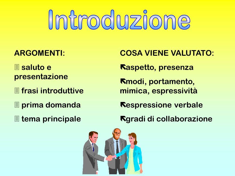 ARGOMENTI: 3 saluto e presentazione 3 frasi introduttive 3 prima domanda 3 tema principale COSA VIENE VALUTATO: ë aspetto, presenza ë modi, portamento