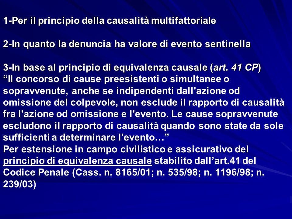 1-Per il principio della causalità multifattoriale 2-In quanto la denuncia ha valore di evento sentinella 3-In base al principio di equivalenza causale (art.