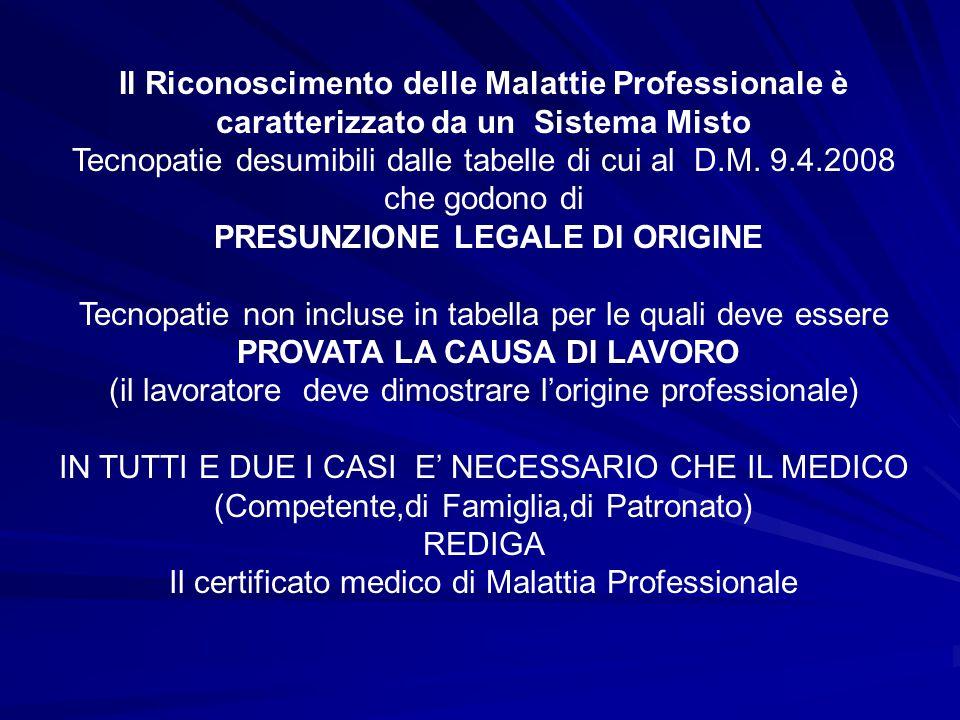 Il Riconoscimento delle Malattie Professionale è caratterizzato da un Sistema Misto Tecnopatie desumibili dalle tabelle di cui al D.M. 9.4.2008 che go