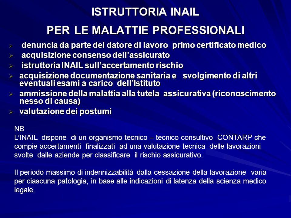 ISTRUTTORIA INAIL PER LE MALATTIE PROFESSIONALI  denuncia da parte del datore di lavoro primo certificato medico  acquisizione consenso dell'assicur