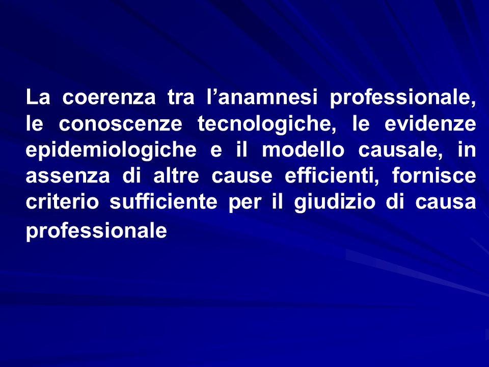 La coerenza tra l'anamnesi professionale, le conoscenze tecnologiche, le evidenze epidemiologiche e il modello causale, in assenza di altre cause efficienti, fornisce criterio sufficiente per il giudizio di causa professionale