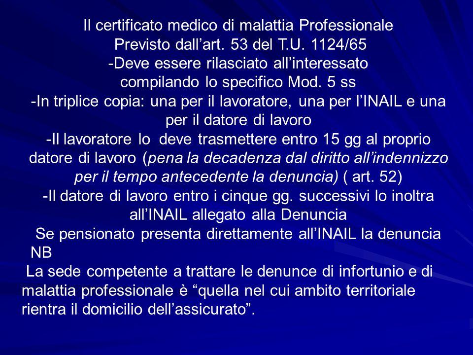 Il certificato medico di malattia Professionale Previsto dall'art. 53 del T.U. 1124/65 -Deve essere rilasciato all'interessato compilando lo specifico