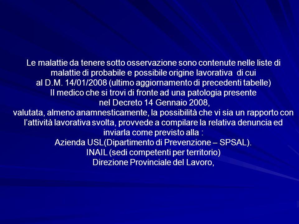 Le malattie da tenere sotto osservazione sono contenute nelle liste di malattie di probabile e possibile origine lavorativa di cui al D.M. 14/01/2008