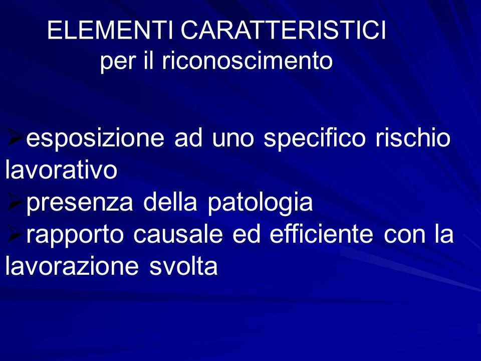 ELEMENTI CARATTERISTICI per il riconoscimento  esposizione ad uno specifico rischio lavorativo  presenza della patologia  rapporto causale ed efficiente con la lavorazione svolta