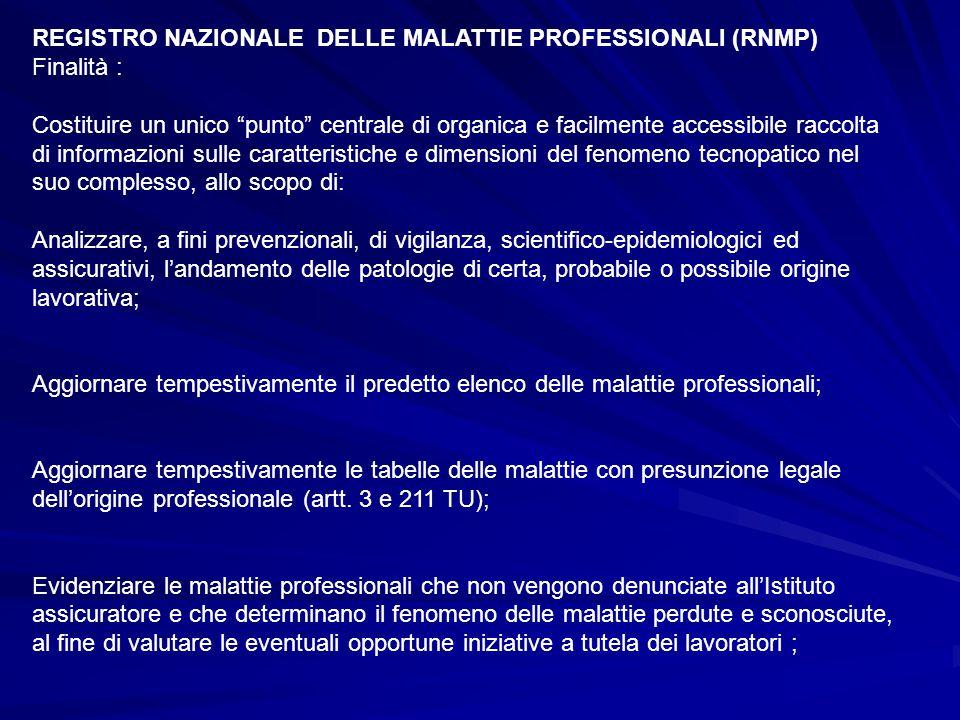 """REGISTRO NAZIONALE DELLE MALATTIE PROFESSIONALI (RNMP) Finalità : Costituire un unico """"punto"""" centrale di organica e facilmente accessibile raccolta d"""