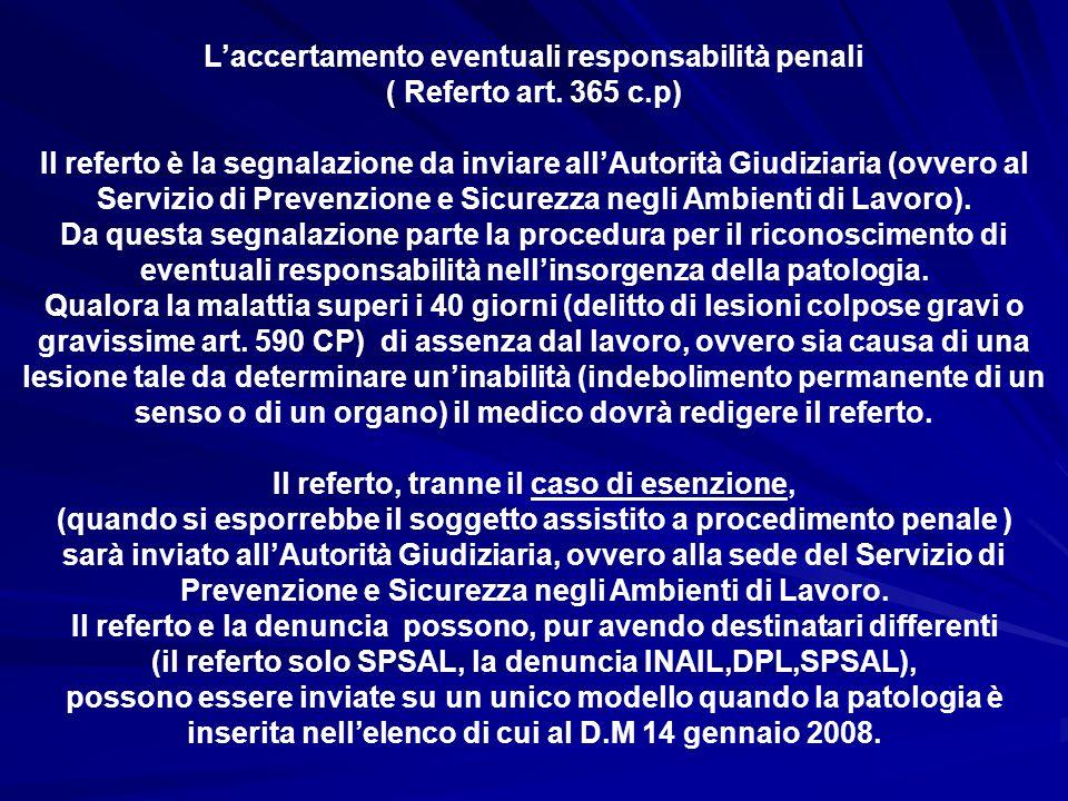 L'accertamento eventuali responsabilità penali ( Referto art. 365 c.p) Il referto è la segnalazione da inviare all'Autorità Giudiziaria (ovvero al Ser