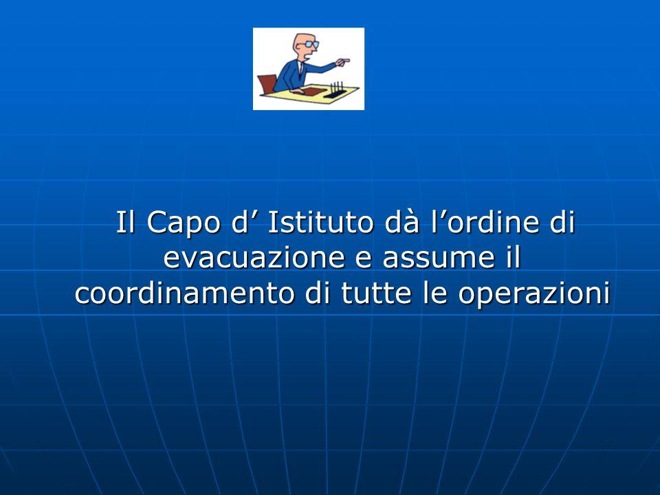 Il Capo d' Istituto dà l'ordine di evacuazione e assume il coordinamento di tutte le operazioni Il Capo d' Istituto dà l'ordine di evacuazione e assume il coordinamento di tutte le operazioni