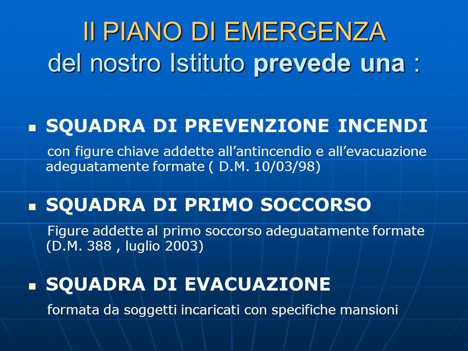 Il PIANO DI EMERGENZA del nostro Istituto prevede una : SQUADRA DI PREVENZIONE INCENDI con figure chiave addette all'antincendio e all'evacuazione adeguatamente formate ( D.M.