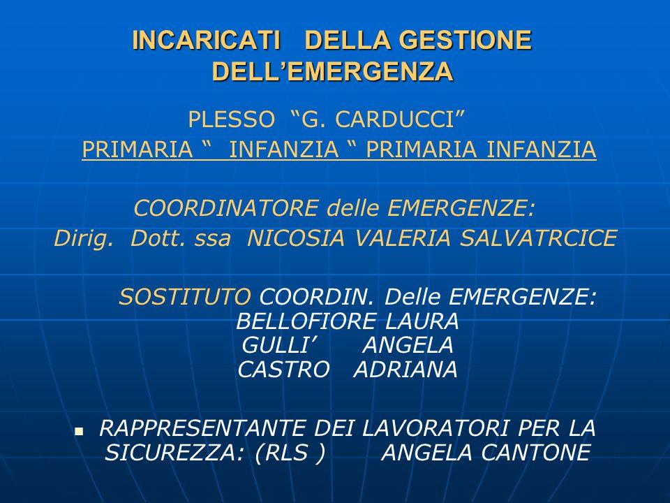 INCARICATI DELLA GESTIONE DELL'EMERGENZA PLESSO G.