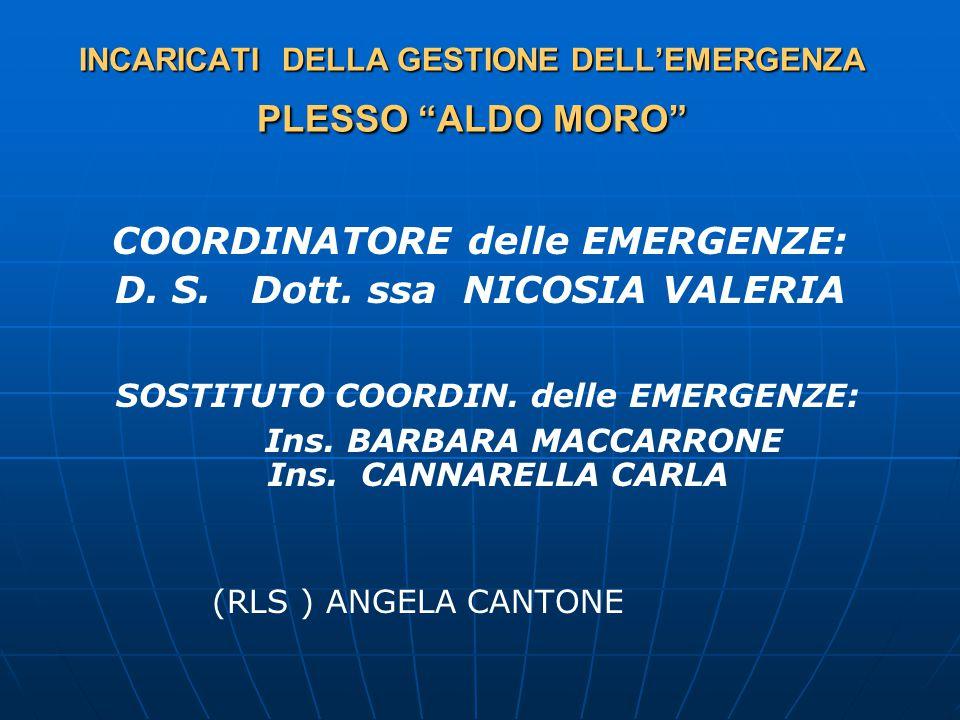 INCARICATI DELLA GESTIONE DELL'EMERGENZA PLESSO ALDO MORO COORDINATORE delle EMERGENZE: D.