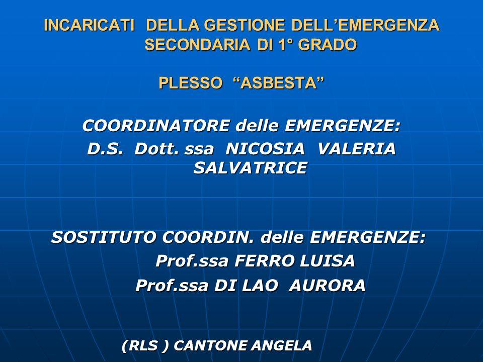 INCARICATI DELLA GESTIONE DELL'EMERGENZA SECONDARIA DI 1° GRADO PLESSO ASBESTA COORDINATORE delle EMERGENZE: D.S.