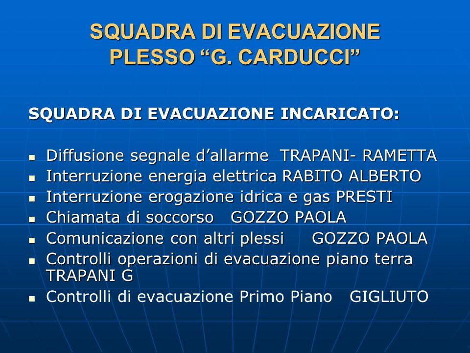 SQUADRA DI EVACUAZIONE PLESSO G.