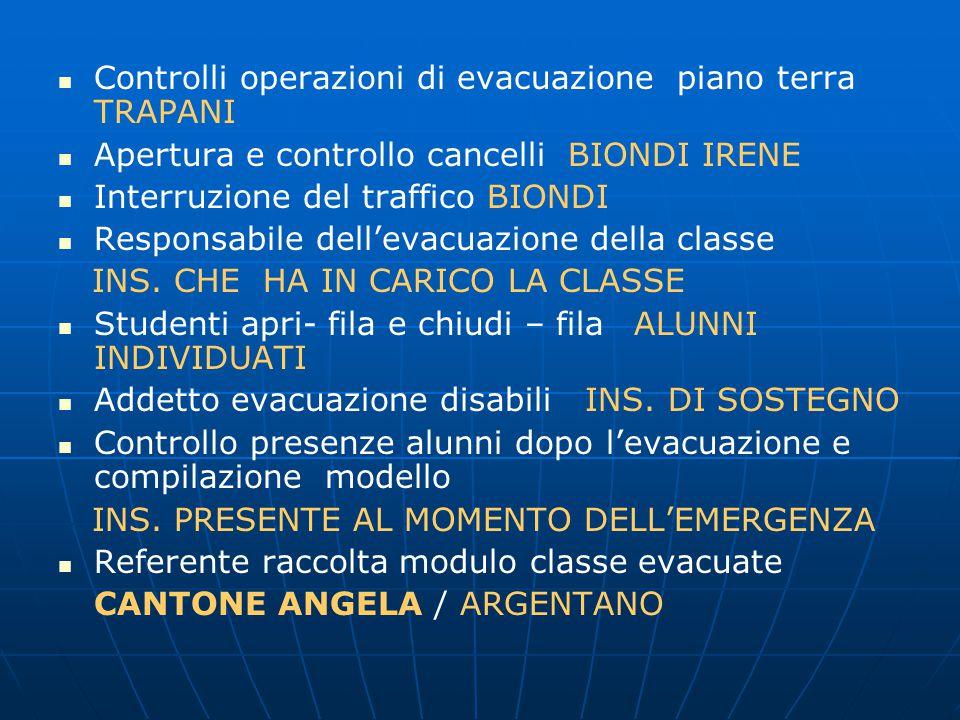 Controlli operazioni di evacuazione piano terra TRAPANI Apertura e controllo cancelli BIONDI IRENE Interruzione del traffico BIONDI Responsabile dell'evacuazione della classe INS.
