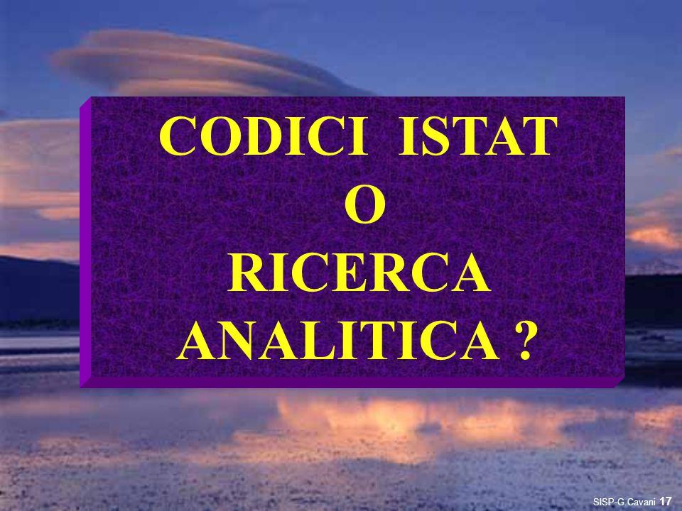 CODICI ISTAT O RICERCA ANALITICA ? 17 SISP-G.Cavani