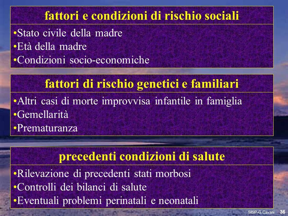 fattori e condizioni di rischio sociali Stato civile della madre Età della madre Condizioni socio-economiche fattori di rischio genetici e familiari A