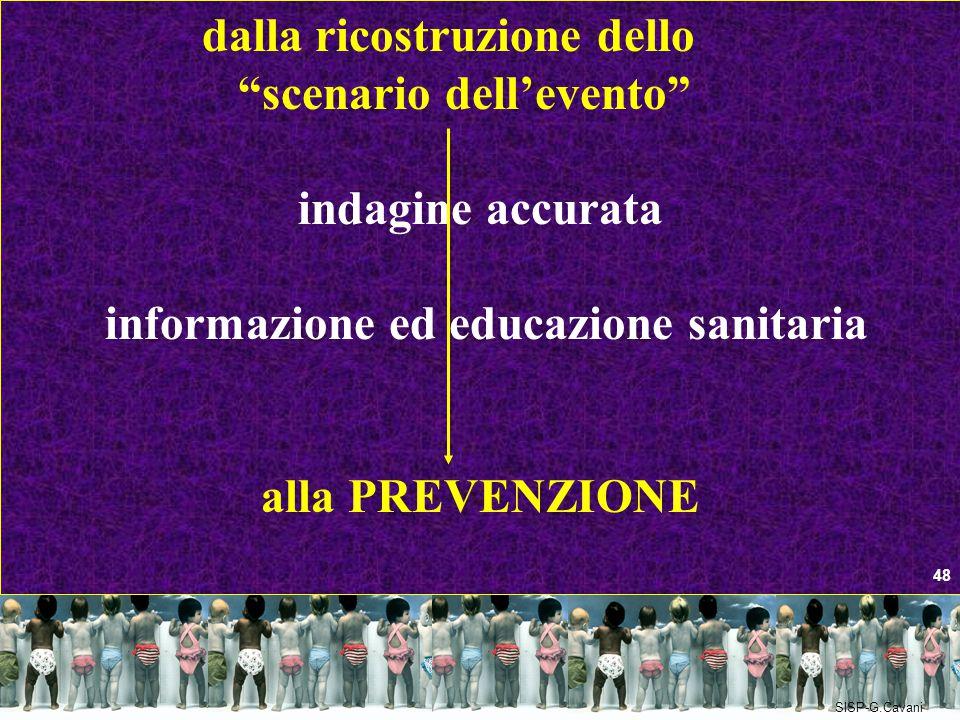 """dalla ricostruzione dello """"scenario dell'evento"""" indagine accurata informazione ed educazione sanitaria alla PREVENZIONE 48 SISP-G.Cavani"""
