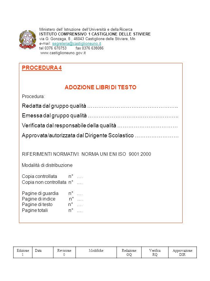 PROCEDURA 4 ADOZIONE LIBRI DI TESTO Procedura: Redatta dal gruppo qualità …………………………………………..
